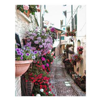 Windows, balcony and flower alleys in Spello Letterhead