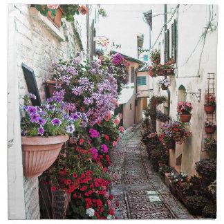 Windows, balcony and flower alleys in Spello Napkin
