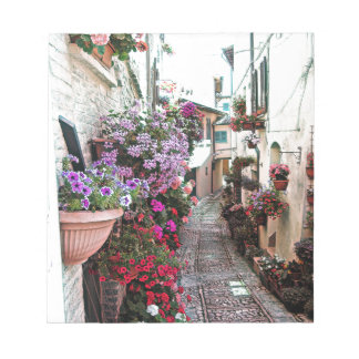 Windows, balcony and flower alleys in Spello Notepad