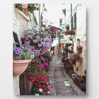 Windows, balcony and flower alleys in Spello Photo Plaque