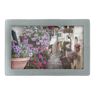 Windows, balcony and flower alleys in Spello Rectangular Belt Buckles