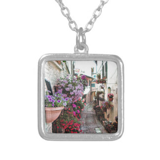 Windows, balcony and flower alleys in Spello Silver Plated Necklace