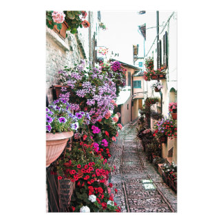 Windows, balcony and flower alleys in Spello Stationery