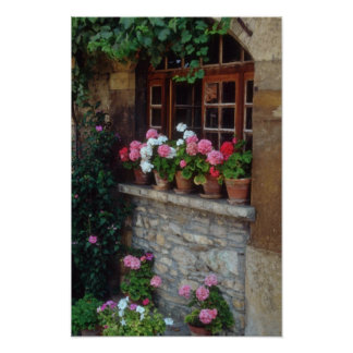 Windows In Perouges flowers Poster