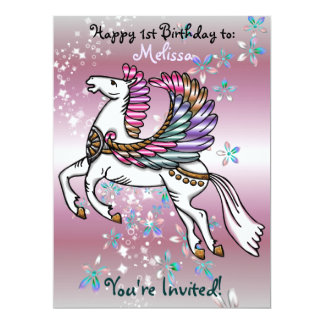 "Winds and Wings Pegasus  BIRTHDAY BABY SHOWER 6.5"" X 8.75"" Invitation Card"