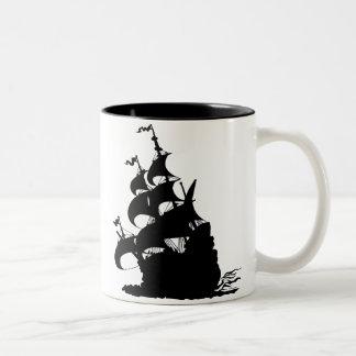 Windship Bends Before a Fresh Breeze Two-Tone Coffee Mug