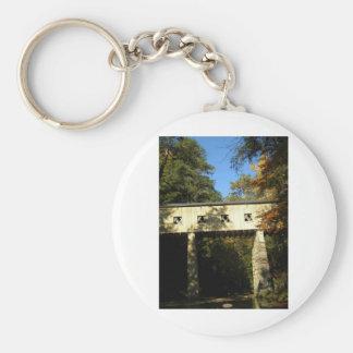 Windsor Mills Rd Covered Bridge Ashtabula County O Basic Round Button Keychain