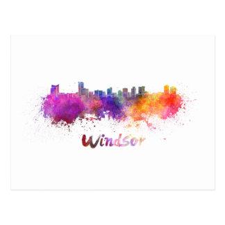 Windsor skyline in watercolor postcard