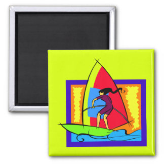 Windsurfer Ocean Sports Boat Surf Waves Magnet