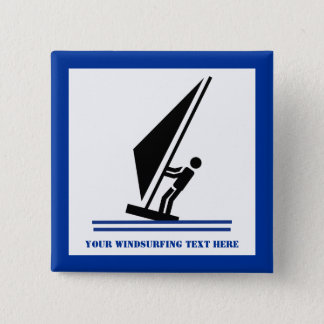 Windsurfer on board black, blue windsurfing 2 inch square button