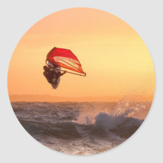 Windsurfing At Sunset Surfer Classic Round Sticker