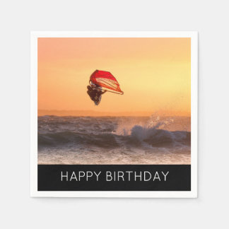 Windsurfing At Sunset Surfer Sailboarding Party Paper Napkins