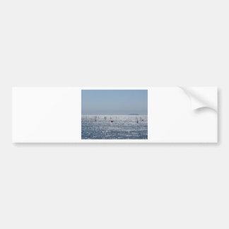 Windsurfing in the sea . Windsurfers silhouettes Bumper Sticker