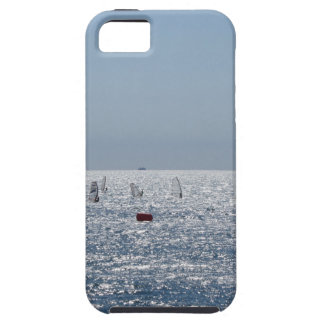 Windsurfing in the sea . Windsurfers silhouettes iPhone 5 Cover