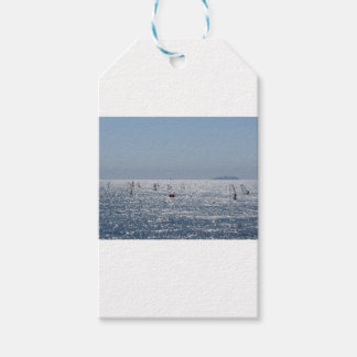 Windsurfing in the sea . Windsurfers silhouettes Pack Of Gift Tags