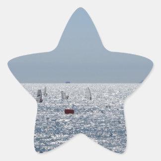 Windsurfing in the sea . Windsurfers silhouettes Star Sticker