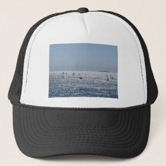 Windsurfing in the sea . Windsurfers silhouettes Trucker Hat