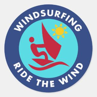 Windsurfing Ride The Wind Classic Round Sticker