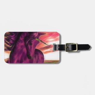 Windswept Unicorn in Amethyst Luggage Tag