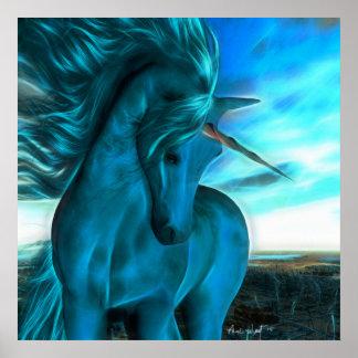 Windswept Unicorn in Azure Poster