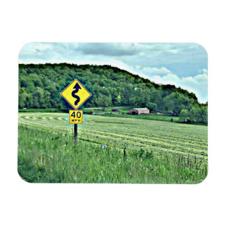 Windy Curvy Road Sign Country Landscape Magnet
