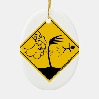 Windy Weather Warning Merchandise and Clothing Ceramic Oval Ornament