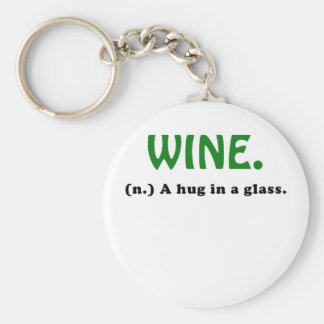 Wine A Hug in a Glass Basic Round Button Keychain