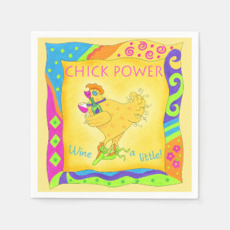Wine a Little Chick Power Custom Yellow Paper Napkin