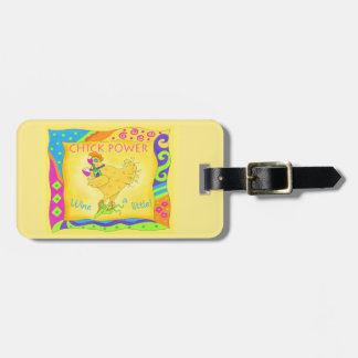Wine a Little Chick Power Whimsy Yellow Luggage Tag