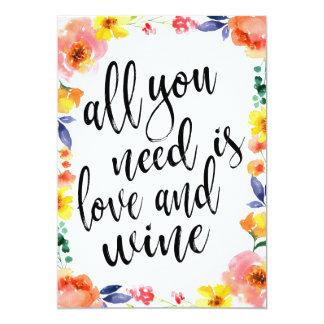 Wine affordable floral wedding sign card