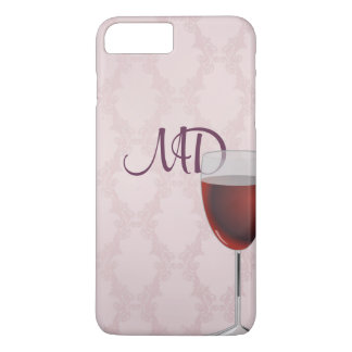 wine and blush pink damask iPhone 8 plus/7 plus case