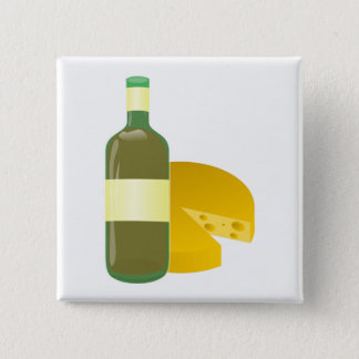 Wine and Cheese 2 Inch Square Button
