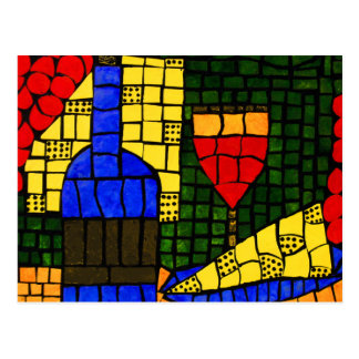 Wine And Cheese Bright Colors Postcard