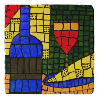 Wine And Cheese Bright Colors Trivet