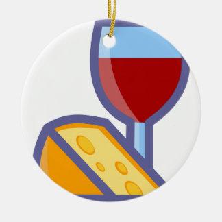 Wine and Cheese Ceramic Ornament