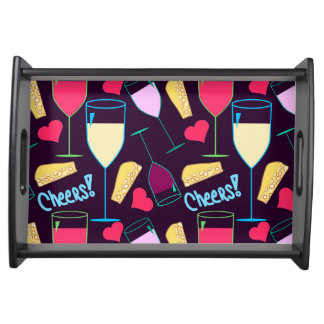 """""""Wine and Cheese Collage"""" Small Serving Tray"""