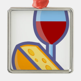 Wine and Cheese Metal Ornament