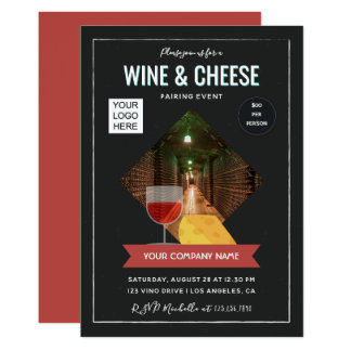 Wine And Cheese Pairing Event add photo and logo Card