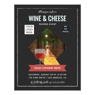 Wine And Cheese Pairing Event add photo and logo Flyer