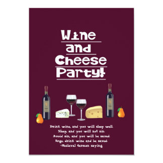 Wine and Cheese Party-Cheese, Wine Bottles, Fruit Card