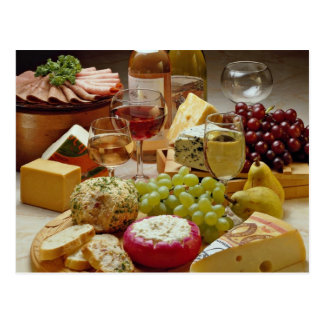 Wine and cheese party postcard