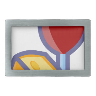 Wine and Cheese Rectangular Belt Buckle