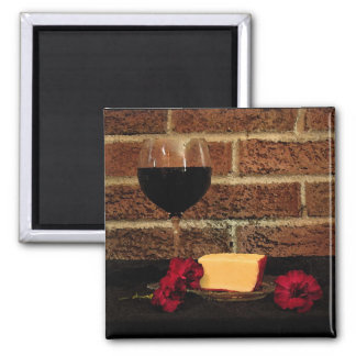 Wine and Cheese Square Magnet