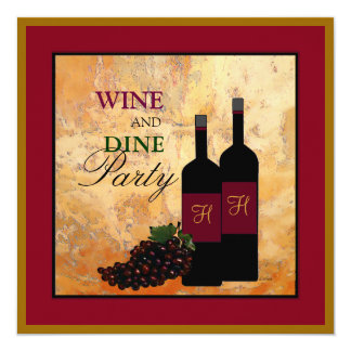 """Wine and Dine Party 5.25"""" Square Invitation Card"""