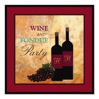"""Wine and Fondue Party 5.25"""" Square Invitation Card"""