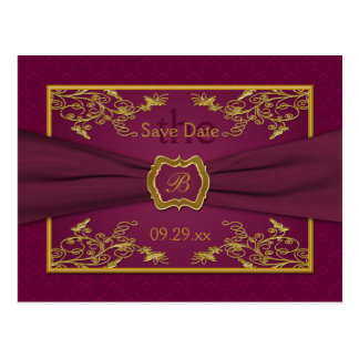 Wine and Gold Floral Damask Save the Date Card