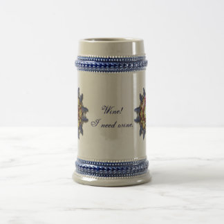 Wine and grapes kaleidoscope 18 oz beer stein
