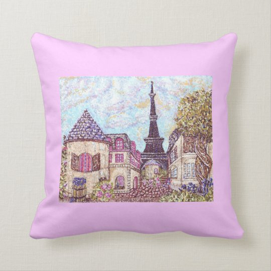 Wine And Grapes With Paris Inspired Cityscape And  Throw Pillow