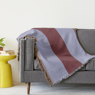 Wine and Gray-Blue Striped Throw