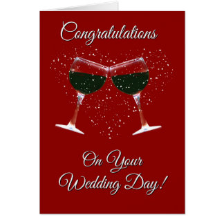 Wine and Heart Congratulations on your Wedding Card